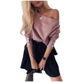 Tootess Women Long Sleeve Pullover Sexy Buttons Off-shoulder Knitting Shirt AS1 XS
