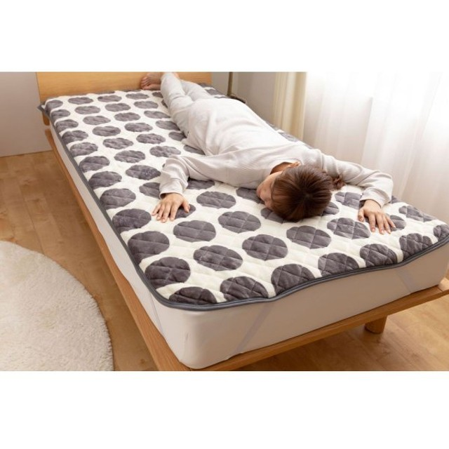 布団カバー シーツ 敷きパッド パッドシーツ 北欧サークルデザインのプレミアムマイクロファイバー敷きパッド 「グレージュ」