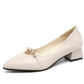 [AcMeer] パンプス 歩きやすい ローヒール レザー ポインテッドトゥ 疲れにくい ビジネス用 美脚パンプス 柔らかい ぺたんこ 婦人靴 痛くない 結婚式 学生靴 走れる 脱げない ヒール3.5CM 黒 ベージュ