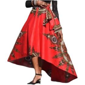 VITryst 女性不規則なMIDIラインアフリカ花プリント民族スタイルスカート Red L