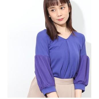 【ViS:トップス】チュール袖ぬけ衿プルオーバー