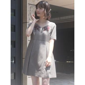 MERCURYDUO(マーキュリーデュオ)/チェック柄刺繍ワンピース