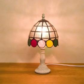 日用品 【置照明】ティファニー [テーブルランプ ドット]LED対応<E12/水雷型>ステンドグラス テーブルランプ