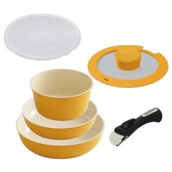 アイリスオーヤマ フライパン 鍋 26cm 20cm 6点 セット 「セラミックカラーパン」オレンジ IH 対応 取っ手のとれ
