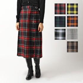 ONEIL of DUBLIN  オニールオブダブリン 73cm カラー7色 ウール チェック柄 ミモレ丈 スカート シングルベルト Wバックル レディース