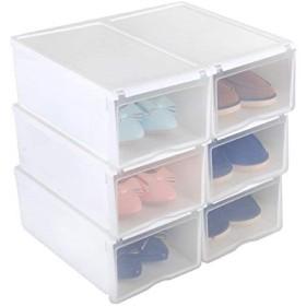 UUhome 6 xオープンフロント透明プラスチック男の靴箱男女白PN64