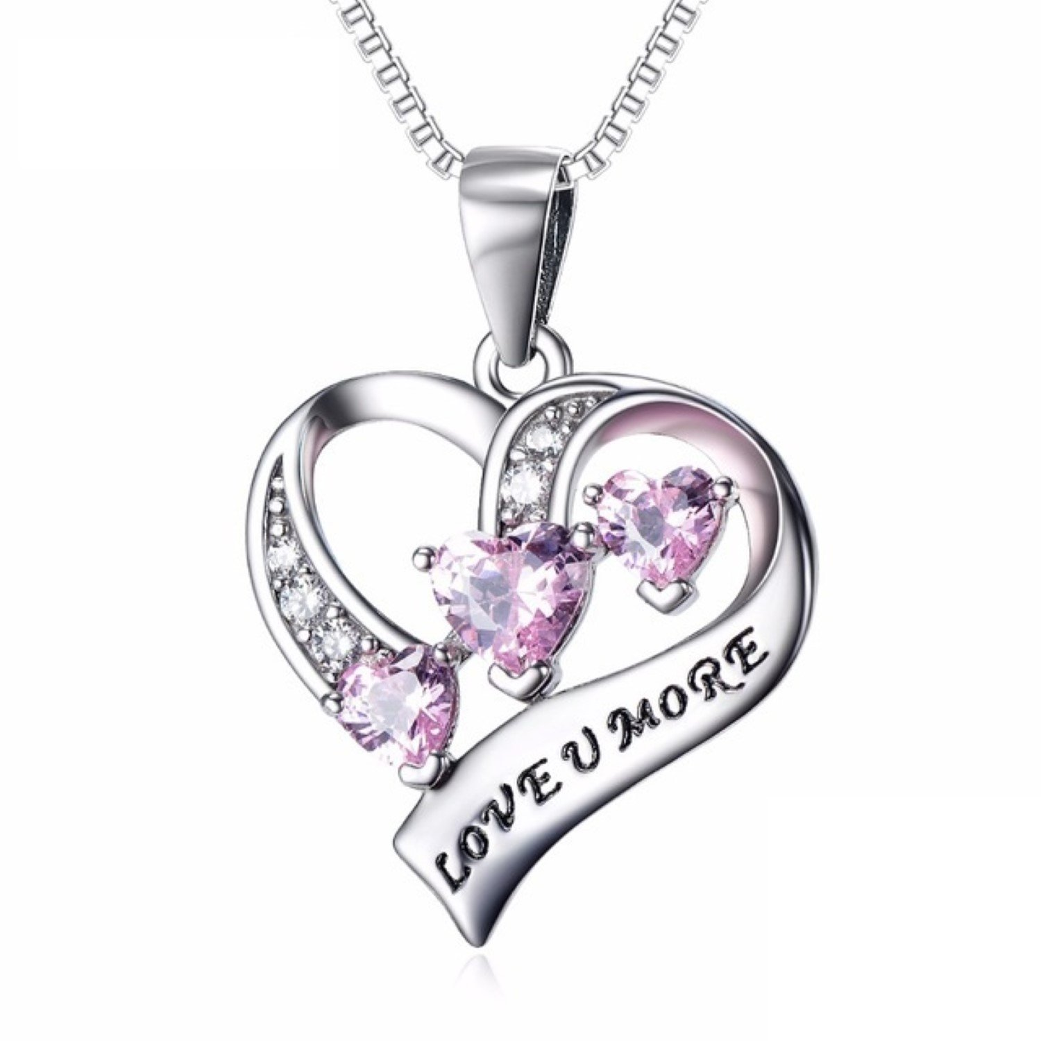 CS-DB Pendants Necklaces Silver Hollow Love Heart Crystal Girls Luxury Pendent