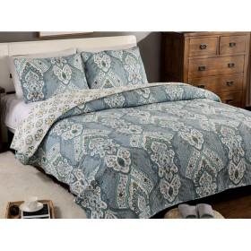 キルティングベッドカバーダブルキングサイズレトロプリントキルト230X250cmベッドカバー軽量寝具装飾,Blue-230X250cm