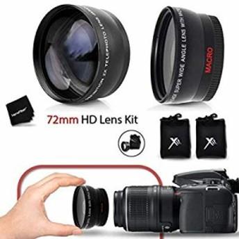 Pro 72mm広角レンズW/マクロ+ Pro 72mm 2x望遠レンズキットFitsすべ (中古品)