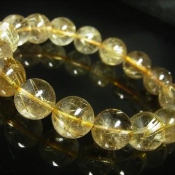お試し価格 一点物 ゴールド タイチンルチル ブレスレット 金針水晶 天然石 数珠 14ミリ R54 シラー 虹