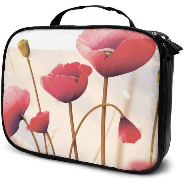 ケシの花女性用化粧品バッグ愛らしい広々とした化粧バッグ旅行用トイレタリーバッグアクセサリーオーガナイザー