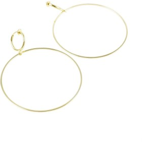 [ATK21] 両耳用(2点セット)シンプル 華奢 フープ サークル フェイクピアス ノンホール パイプイヤリング レディース アクセサリー (Gold)