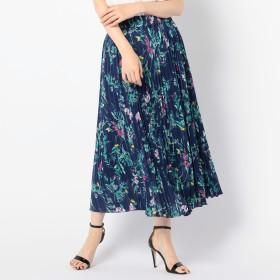 NOLLEY'S(ノーリーズ)/フラワープリントサテンプリーツスカート