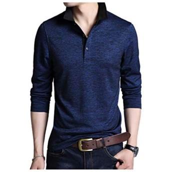 [Limore リモア] 襟付き ポロシャツ シンプル デザイン ボタン ロング Tシャツ 大人 スタイル 長袖 カジュアル メンズ カラー ロンt 立ち襟 長そで(ネイビー 04.2XL)