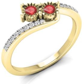 DazzlingRockコレクション0.25カラットCTW14Kゴールドルビー&ダイヤモンドレディース2つストーンブライダル婚約リング1/ 4ct