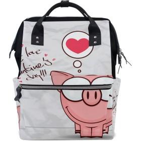 ピンクハートかわいいブタおむつ バッグ バックパック ママバッグ カジュアル 軽量 大容量 トラベル マミー用