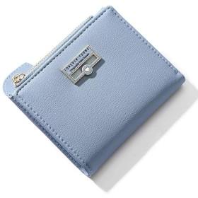 FuYu 財布 多機能 大容量 シンプル 三つ折り ミニ財布 人気 ウォレット カード小銭入れ かわいい おしゃれ 女性用 プレゼント 6カラー(専用化粧箱付き) (ライトブルー-1)