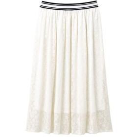 30%OFF【レディース】 ウエストラインレーススカート - セシール ■カラー:オフホワイト ■サイズ:L,LL