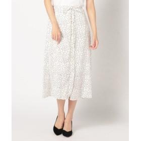(MEW'S REFINED CLOTHES/ミューズ リファインド クローズ)前釦ドットフレアスカート/レディース シロ