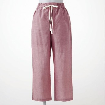 【レディース】 さらりと気持ちいい夏のコットン100%パンツ(8分丈) - セシール ■カラー:クラウディローズ ■サイズ:3L,5L,M,L,LL
