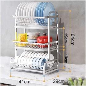 食器皿ラックキッチン水切りラック 3段皿ラック水切り器/調理器具水切り台/キッチンオーガナイザーカウンタートップ/長さ41cm (Size : A)