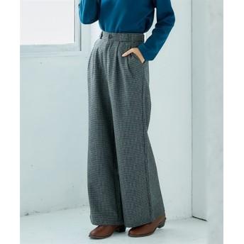 チェック柄タックフレアーワイドパンツ (レディースパンツ),pants