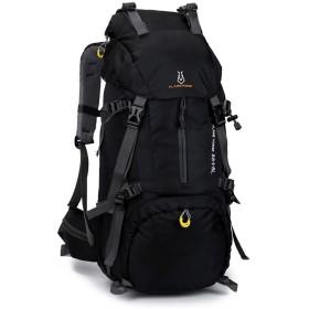 JIANYI 肩男性と女性60 L大容量バックパックナイロン防水トラベルバッグアウトドアクライミングバッグ (色 : 黒)
