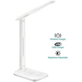 Hazigon デスクランプ 折りたたみ式 D10 無段階 明るさ調節可能 2色温度 USB充電ポート付き 10Wワイヤレス充電 携帯電話用
