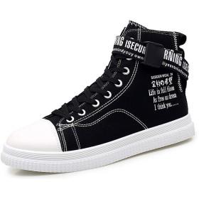 [X-EOS] ズック靴 ズックシューズ ハイカット スニーカー キャンバスシューズ ハイトップ ユニセックス ハイズック靴 スタイリッシュ 耐久性 滑り止め 履き心地 カジュアル 靴ひもあり ファッション 美脚 (ブラック,44(27cm))