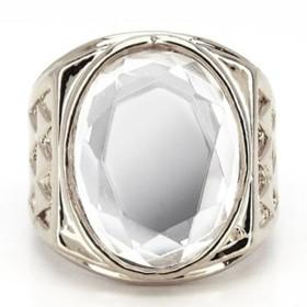 ヒップホップ HIPHOP クリアストーン 高品質プラチナシルバーRG加工リング 指輪 メンズ 19号[r146] 口
