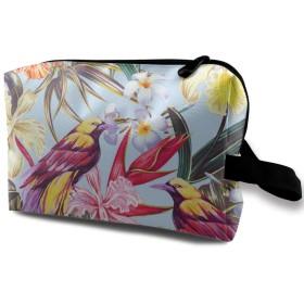 エキゾチックな花の鳥 化粧ポーチ トイレタリーバッグ トラベルポーチ 洗面用具入れ フルメイクセットバッグ 大容量 化粧品収納 出張 海外 旅行グッズ 育児グッズ レディース インナーバッグ