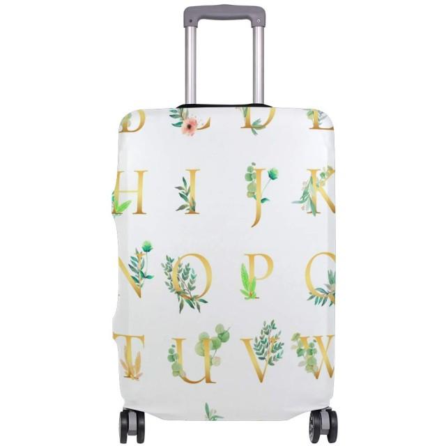 スーツケースカバー 英文 ABC 伸縮素材 保護カバー 紛失キズ 保護 汚れ 卒業旅行 旅行用品 トランクカバー 洗える ファスナー 荷物ケースカバー 個性的