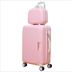 トラベルケース、大容量スーツケース、携帯荷物、純アルミニウム、回転プーリー、2つの1つ,Pink,22