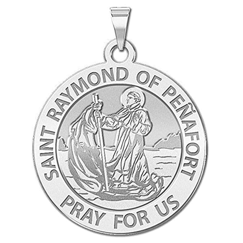 2//3 Inch X 3//4 Inch Solid 14K White Gold PicturesOnGold.com Saint Julian of Norwich Religious Medal