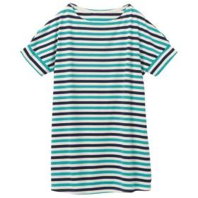 60%OFF【レディース】 裾フレアドルマンボーダーTシャツ(S-5L) - セシール ■カラー:ブルーグリーン×ネイビー×キナリ ■サイズ:3L,4L-5L,S,M,L,LL