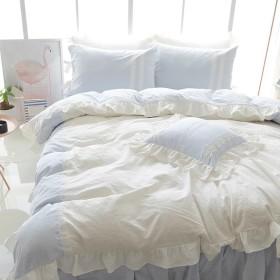 ベッドカバーセット 寝具カバーセット 布団カバー 枕カバー シーツ 姫系 縁の下 プリンセス風 空色 青い 肌触り綿 ベッド用セット 気持ちいい おしゃれ レース Unusual