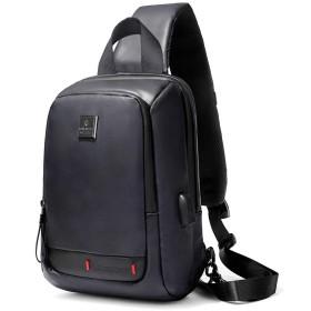 【セール】 ボディバッグ メンズ 防水 斜めがけ ワンショルダーバッグ 10インチipad収納可 USB充電可 zoone (ブラック)