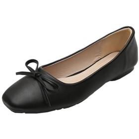 [天下] パンプス スクエアトゥ 黒 23.0cm レディース フラットシューズ ローヒール 可愛い 彼女 デート 歩きやすい 履きやすく 疲れない 走れる カジュアル 通学 通勤 無地 スリッポン 柔らかい ローファー ペタンコ