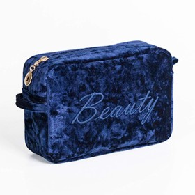 NOTAG 化粧ポーチ レディース 刺繍 コスメポーチ かわいい メイクポーチ ミニ 財布 化粧品収納 小物入れ 普段使い 旅行 (Blue)