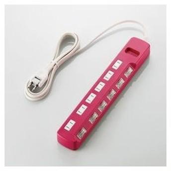 エレコム 個別スイッチ付雷ガードタップ Color Style ピンク・2P式6個口 2.0m メーカー在庫品