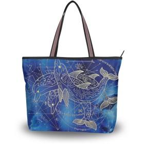 Akiraki トートバッグ レディース 大容量 メンズ おしゃれ かわいい ハンドバッグ バッグ 旅行 クジラ イルカ 鯨 星座柄 宇宙 ブルー 青 通勤 通学 ファスナー キャンパス 軽量 防水 肩掛け 誕生日 プレゼント