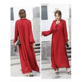 大人女子に人気!ボヘミアンファッション 長袖 くつろぎワンピ ランタンスリーブ  cr01562