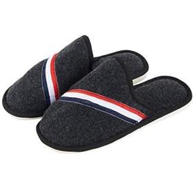 [Giow] メンズコットンスリッパ冬屋内暖かい滑り止め厚底靴防水シンプルホームスリッパ(色:黒、サイズ:2)