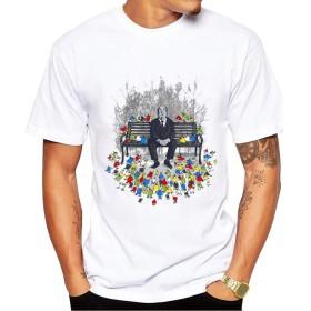 Yizu メンズファッションプリントTシャツTシャツロンリーマンと鳥の群れ漫画スウェットプルーフTシャツ (色 : White, Size : XL)