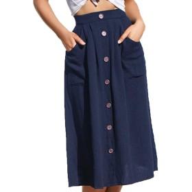 ZUOMAレディース スカート ポケット付き フロントボタン ミモレ丈 ファッション コーデしやすい ハイウエスト aライン (深藍, L)