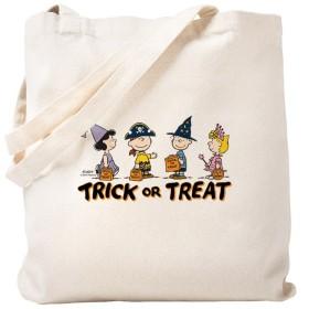 CafePress–the Peanuts Gang : Trick or Treat–ナチュラルキャンバストートバッグ、布ショッピングバッグ S ベージュ 1328368037DECC2