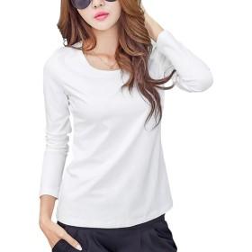 長袖 Tシャツ レディース トップス 無地 カットソー Tシャツ シンプル コットン クルーネック Tシャツ おしゃれ 3色