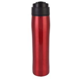 Salinr コーヒーポット 家庭用屋外オフィス用 ポータブル圧力フィルター付きステンレススチールコーヒーメーカーポットボトル(赤)
