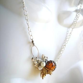 3wayファイアオパールネックレス(アンバー) 1950'sヴィンテージ【Noble Jewelry Series】