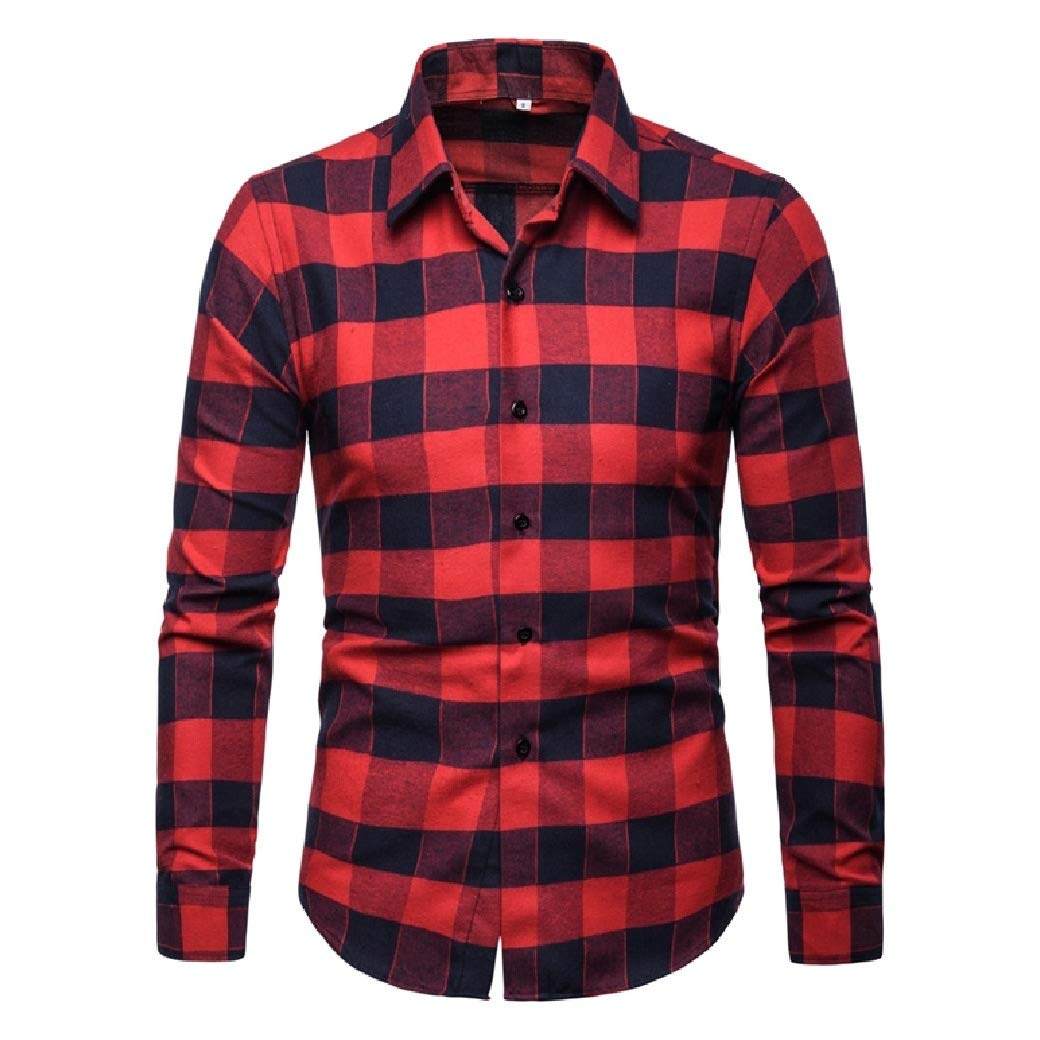 Fubotevic Mens Casual Business Plaid Check Slim Button Down Long Sleeve Dress Work Shirt